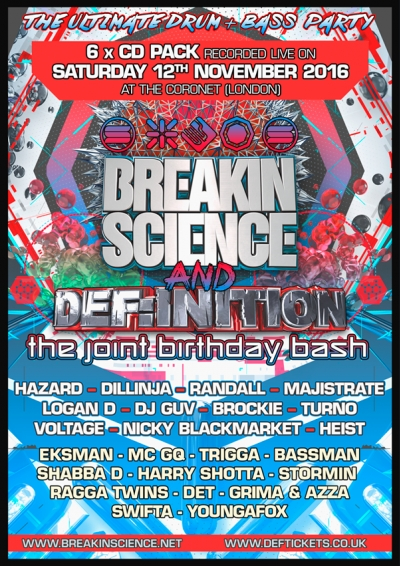 BREAKIN SCIENCE & DEFINITION JOINT BIRTHDAY BASH (NOV 2016) CD PACK FRONT