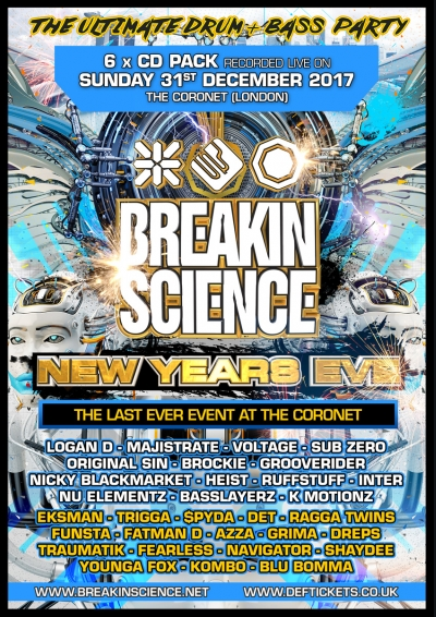 BREAKIN SCIENCE NYE 2017 - 6 x CD PACK SALE
