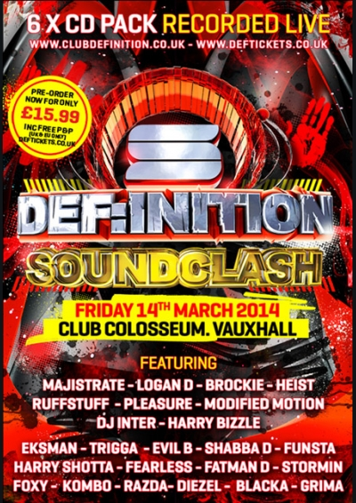 DEF:INITION SOUNDCLASH (MARCH 2014) - 6 x CD PACK