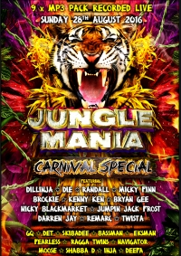 JUNGLE MANIA CARNIVAL SPECIAL 2016 - 9 x MP3 DOWNLOAD PACK