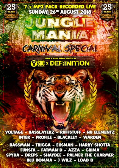 JUNGLE MANIA CARNIVAL SPECIAL 2018 - SDC x DEFINITION - 7xMP3 PACK
